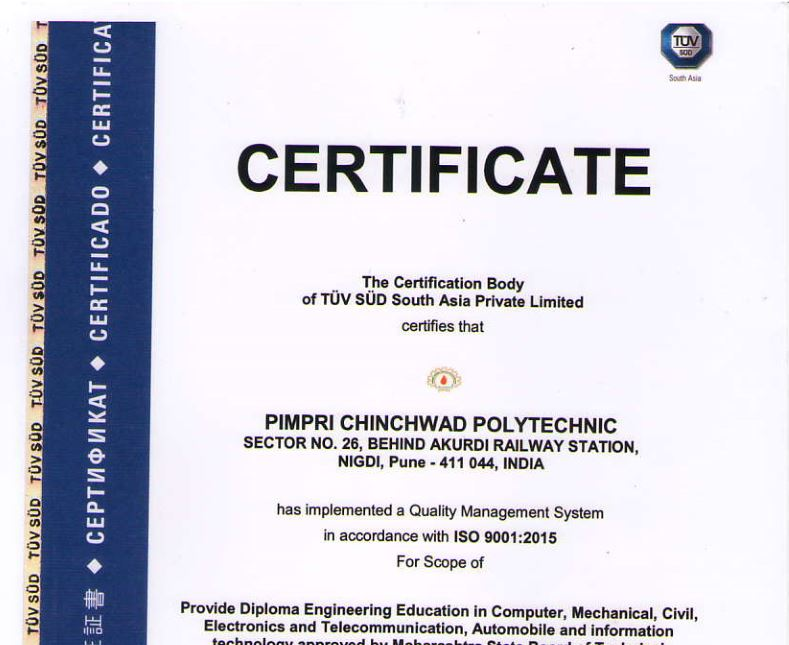 Pimpri Chinchwad Polytechnic College is certified with ISO Certificate.